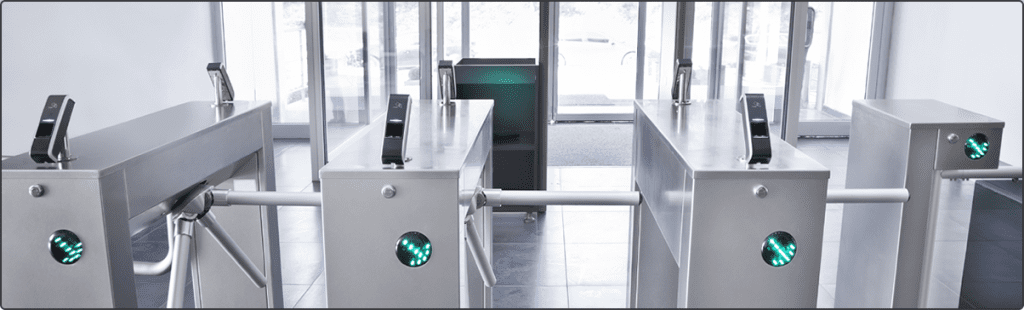 Automated Temperature Kiosk for COVID - 19 with Access Control - Safe & accurate NoTouch temperature scanning, mask detection and required hand sanitizer station. Automatic 1-Second Scans. Easy-to-Read Pass or Fail System. Stay protected & back to work compliant.